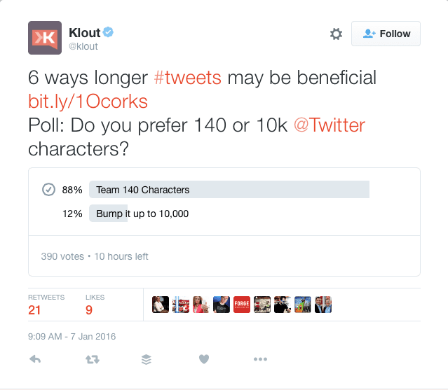 Klout poll results screen shot