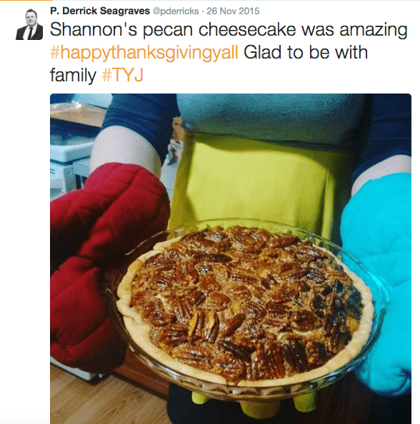 Screen Shot of a tweet of someone holding a pie