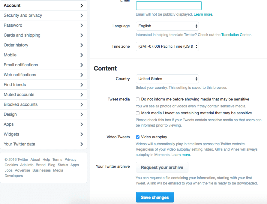 twitter settings content