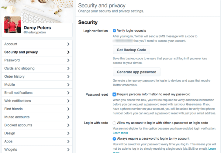 Twitter Settings Security