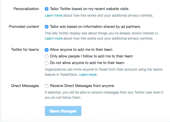 Twitter Settings Privacy