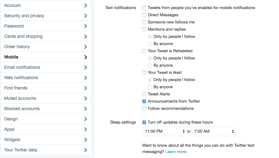 Twitter Settings Mobile
