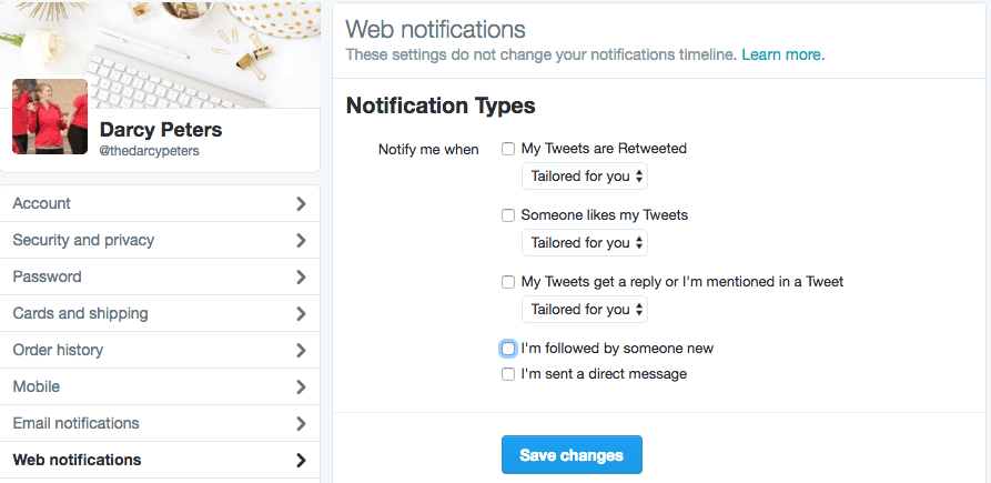 Twitter Settings Web Notifications