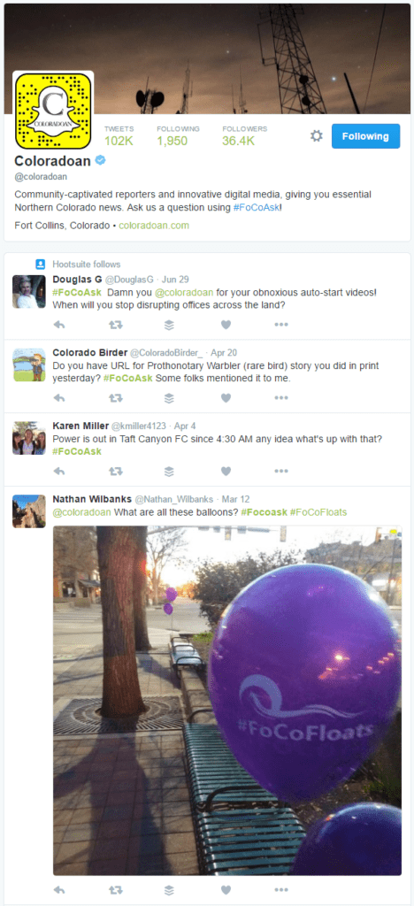 #focoask Fort Collins Coloradoan Twitter