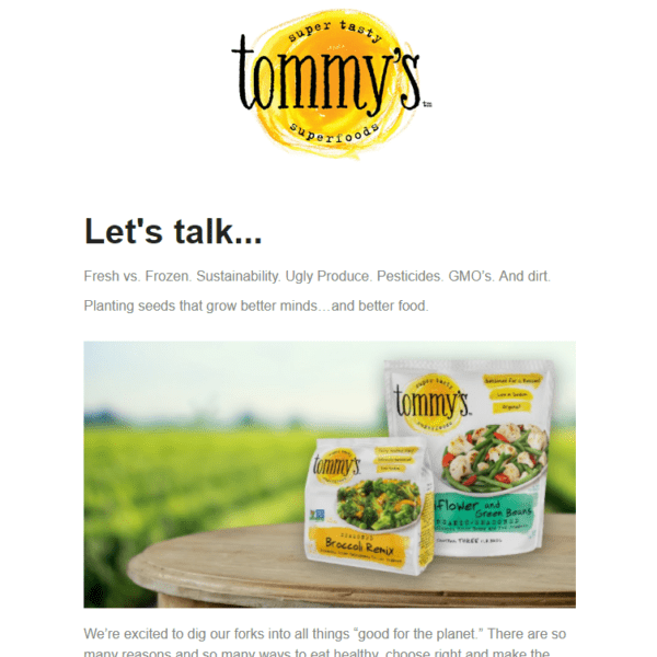 tommy's superfoods email newsletter