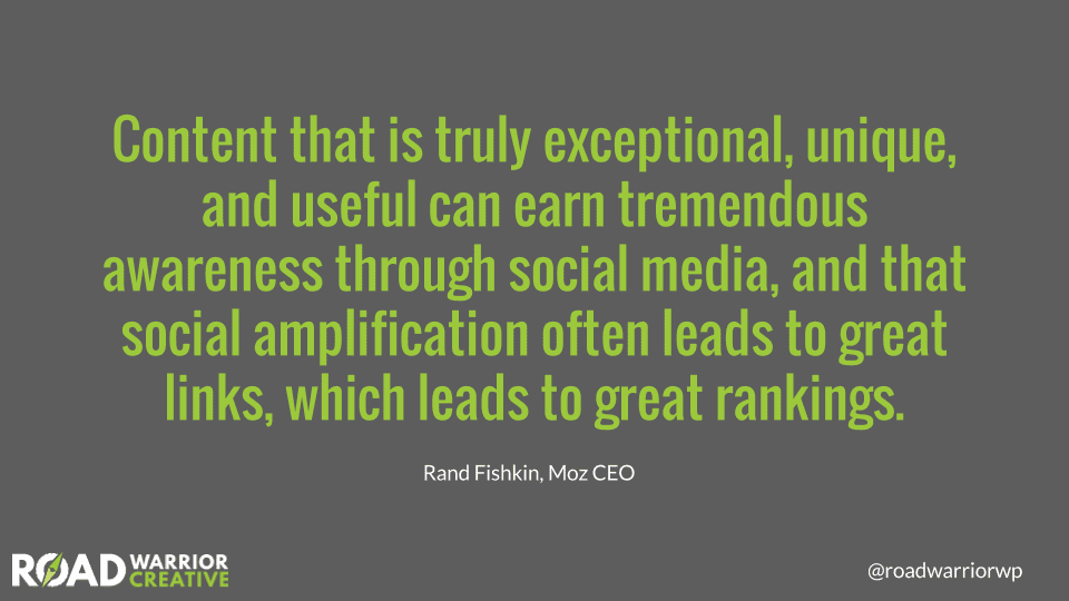 wriet good content for social amplification - Rand Fishkin quote
