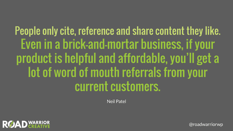 people share good content neil patel quote