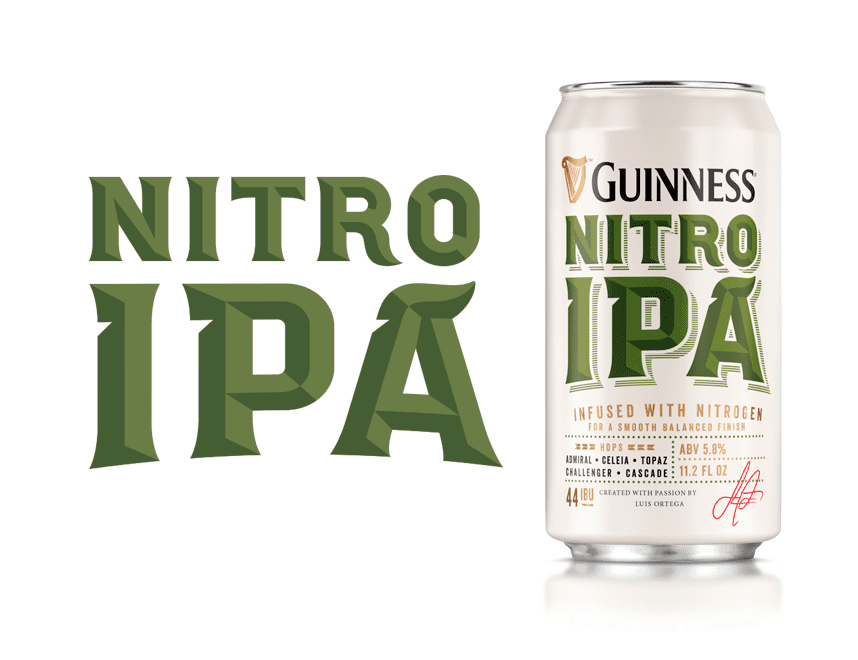 Guinness IPA beer brand typography hand drawn logo packaging