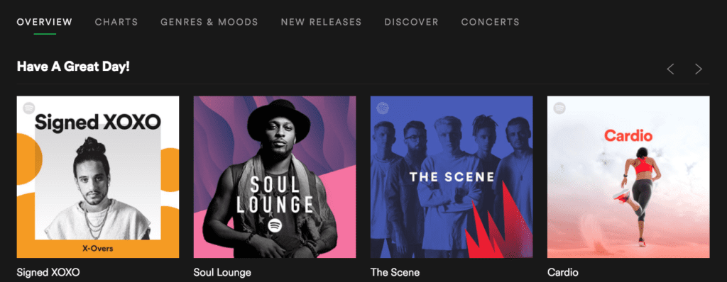 Spotify overview screen