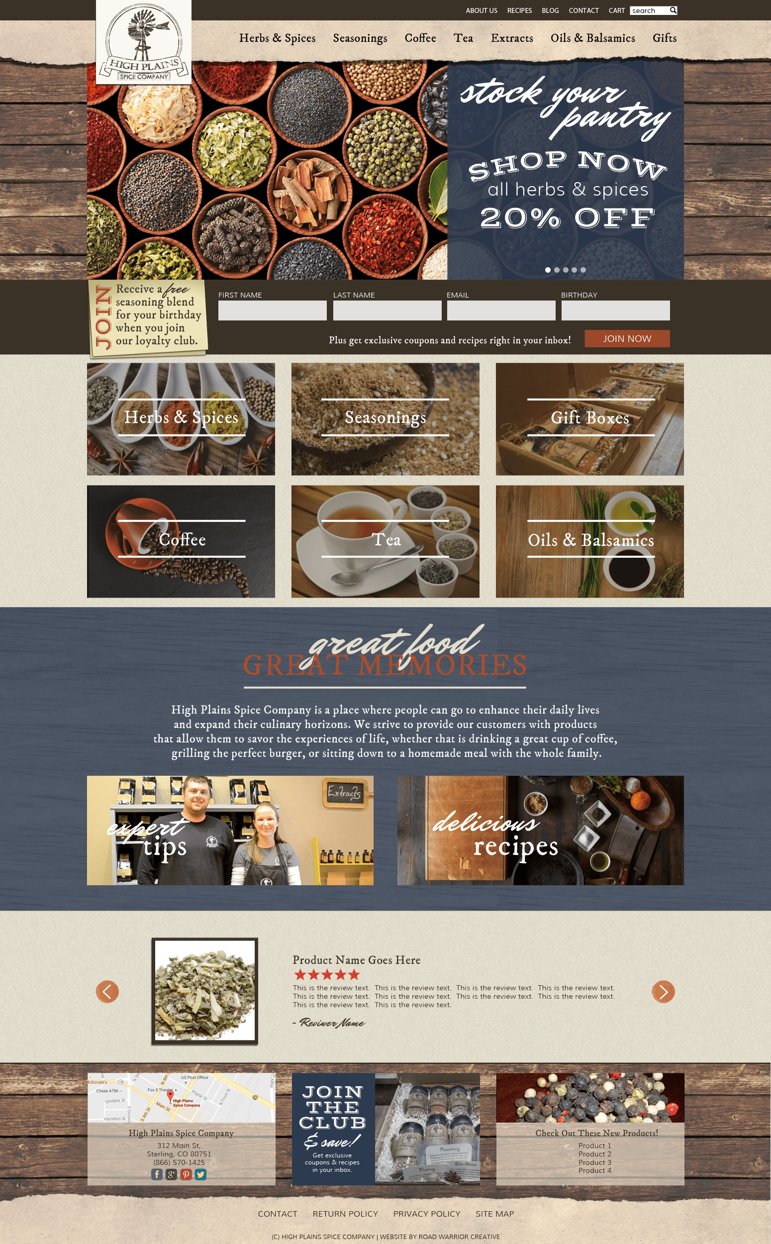 high plains spice company website design 1