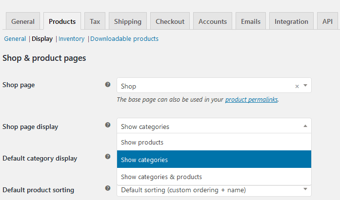 woocommerce show categories