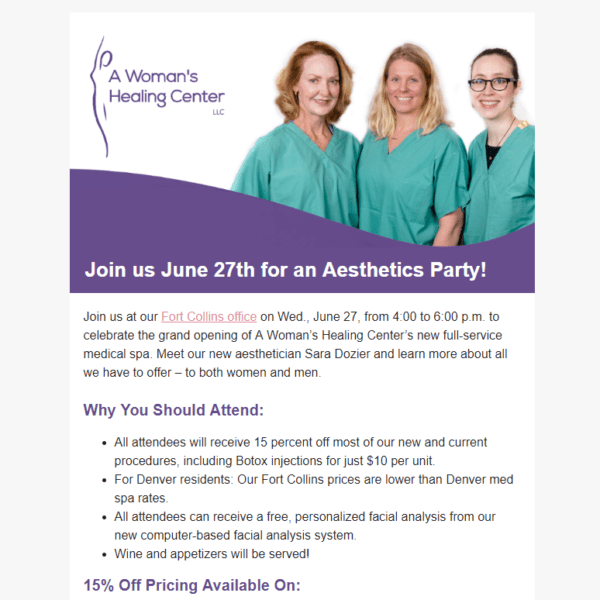 aesthetics party email newsletter