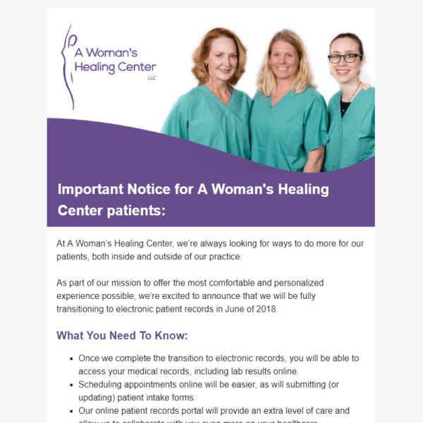 email newsletter with picture of doctors at top