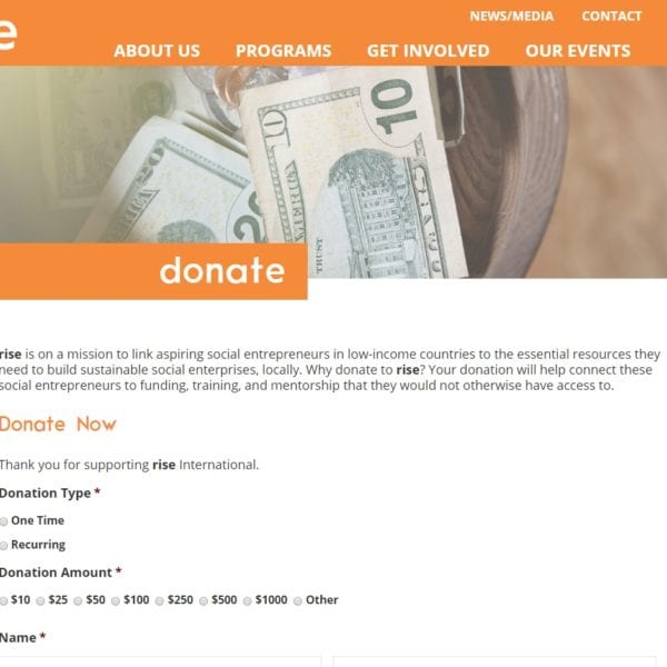 rise donate page