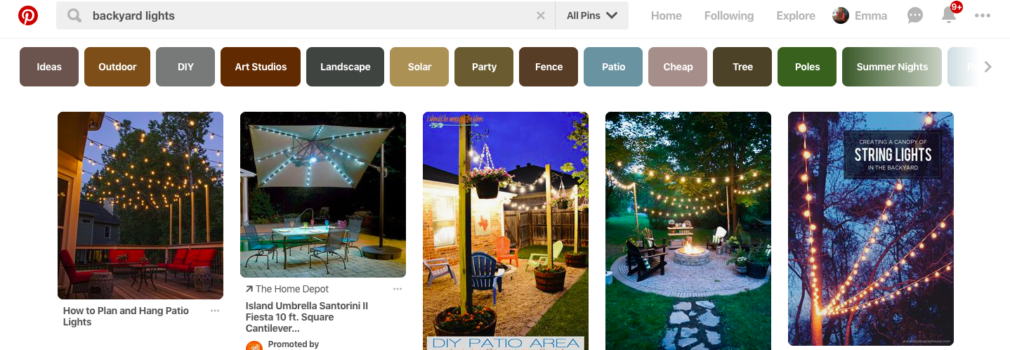 pinterest search example: backyard lights