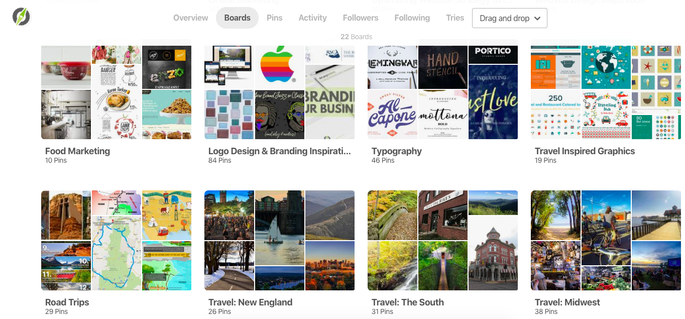 road warrior creative pinterest example- boards