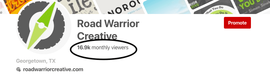 Road Warrior Creative pinterest monthly viewers