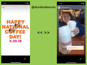 dunkin donuts instagram story