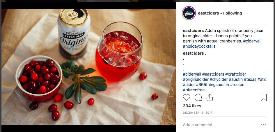 Austin Eastciders 2017 Instagram Christmas campaign