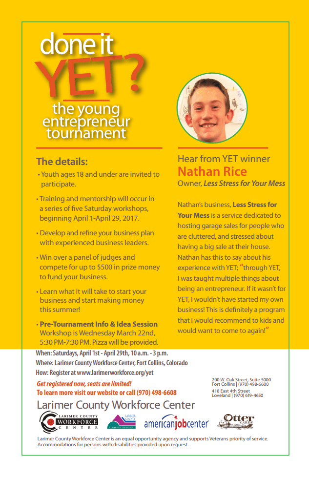 Youth Entrepreneurship Tournament Flier back
