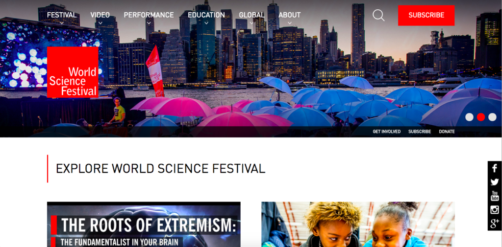 World Science Festival home page
