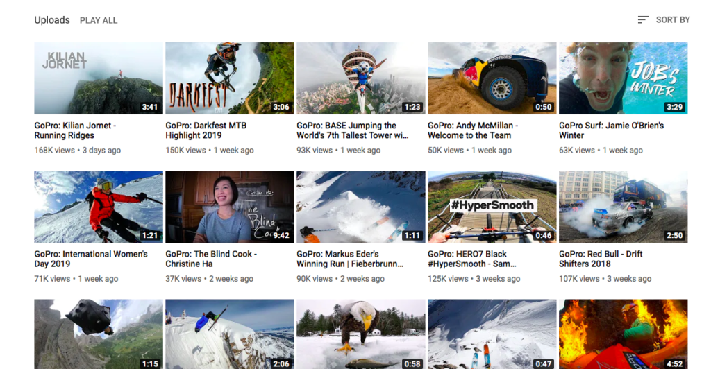 GoPro YouTube channel feed - example of marketing to gen z