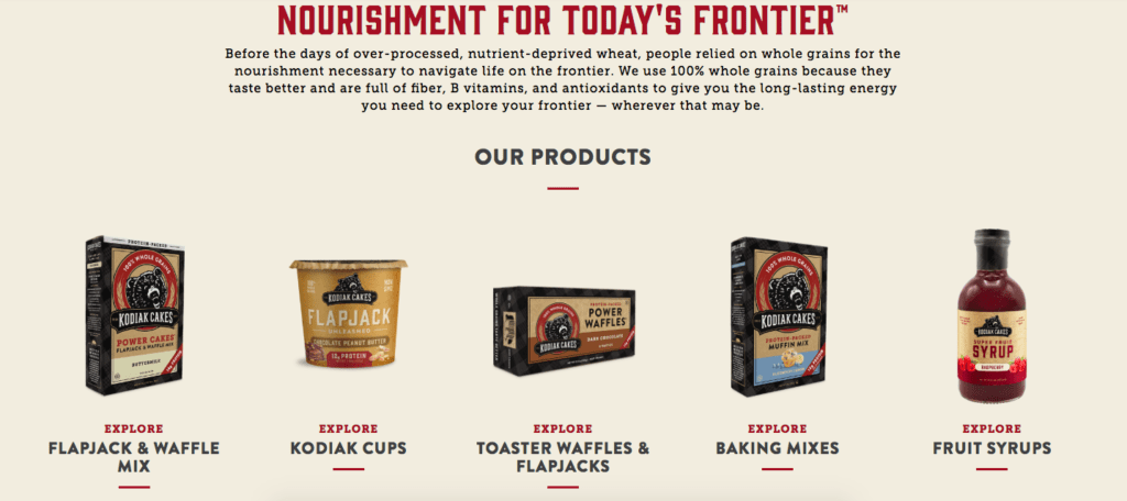 Kodiak Cakes our products home page section