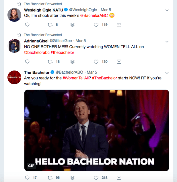 The Bachelor Twitter feed