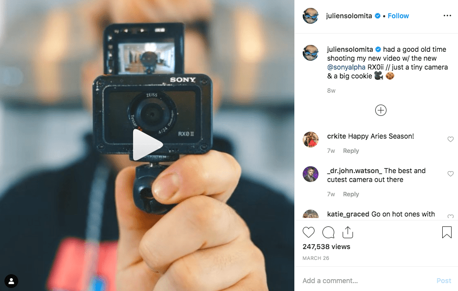 screenshot of Julien solomita's Instagram- Content creator example