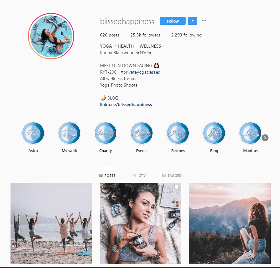 how to use instagram influencers: screenshot of blissed happiness instrgram account - fitness-based account with approx. 20k followers - micro influencer