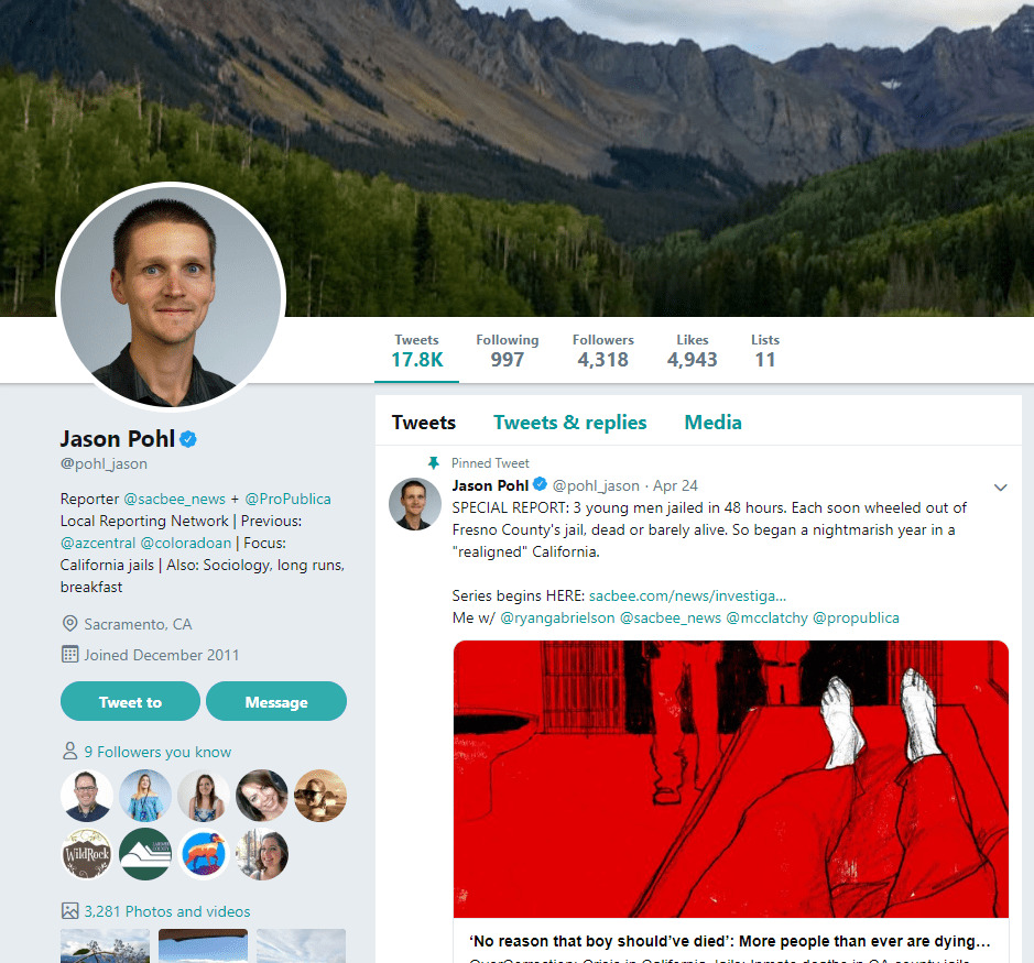 Screenshot of Journalist Jason Pohl's twitter account - media influencer example