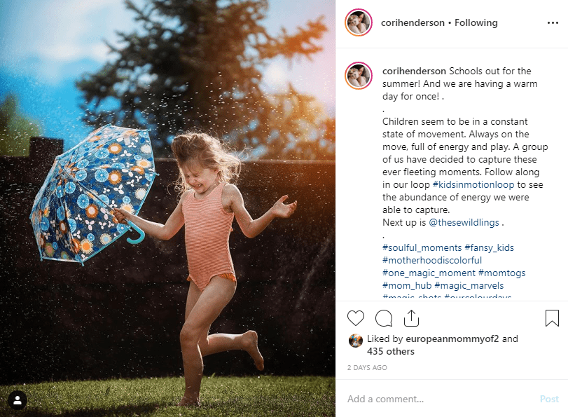 Cori Henderson's instagram feed - girl with umbrella running through sprinkler - how to use instagram influencers