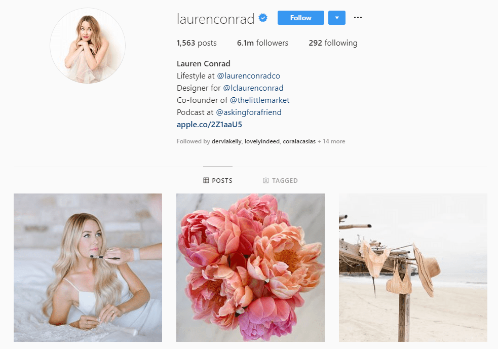 screenshot of Lauren Conrad's Instagram account - fashion industry influencer with 6.1M followers