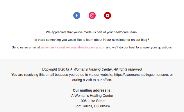 A Woman's Healing Center email newsletter footer example