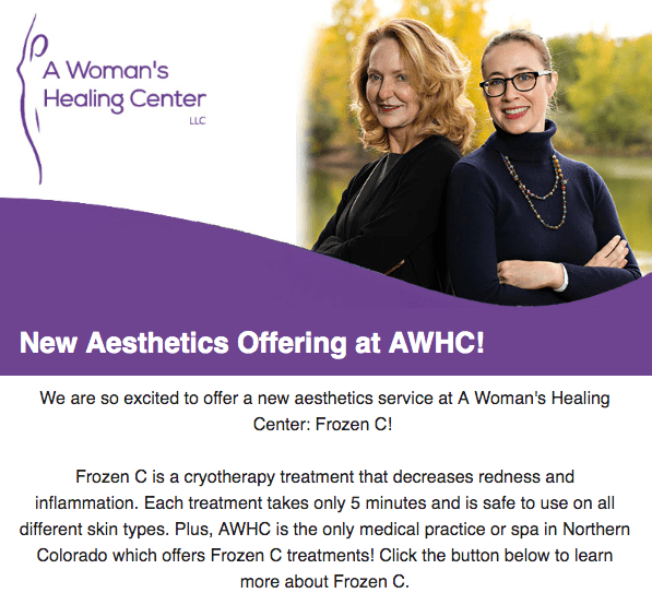 A Woman's Healing Center example email newsletter branding