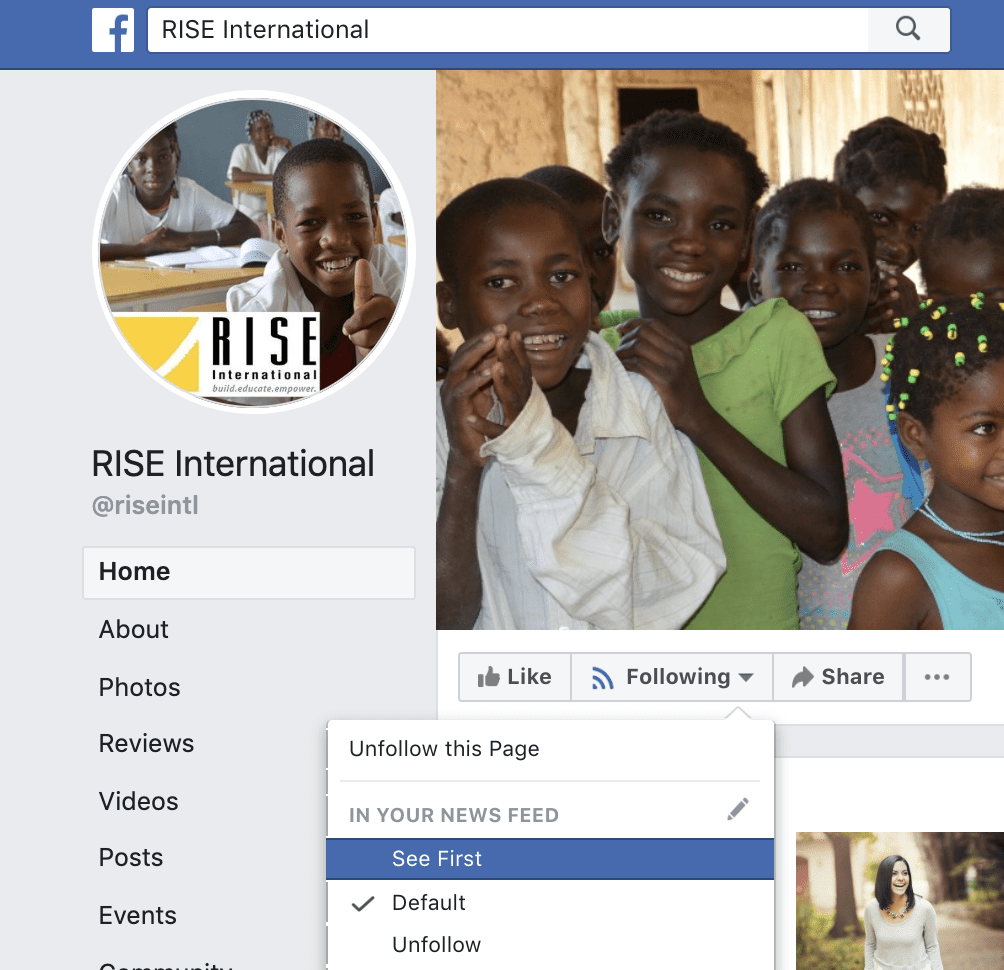 RISE international facebook page