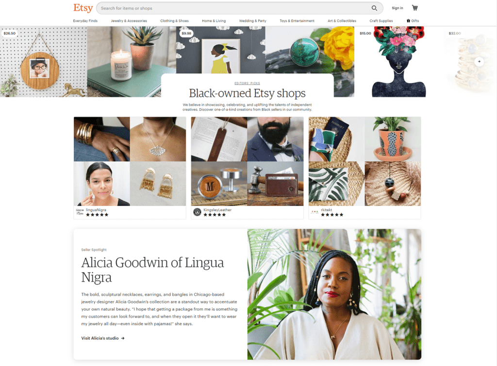 Etsy black-owned shops web page