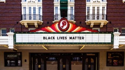 paramount theater in austin with black lives matter on marquee