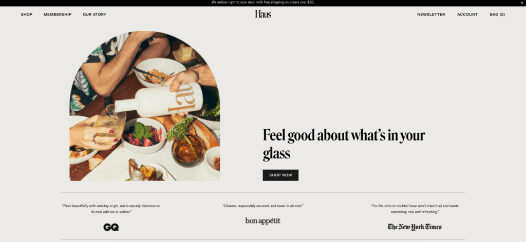Haus aperitif home page