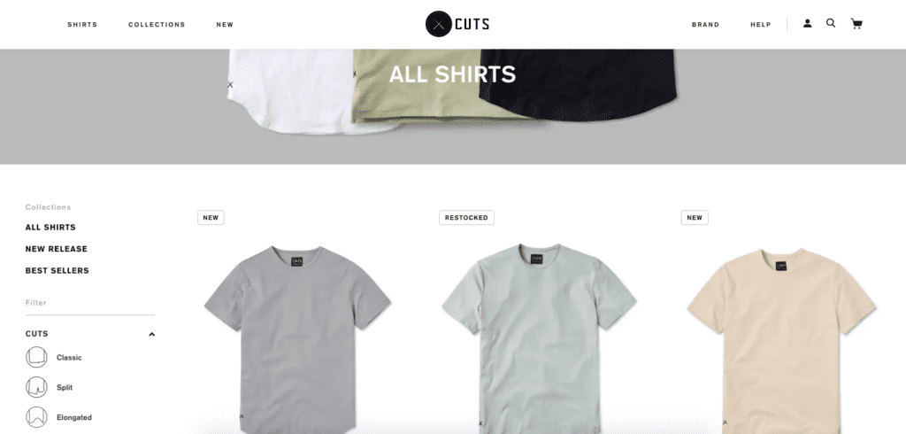 cuts clothing shop page