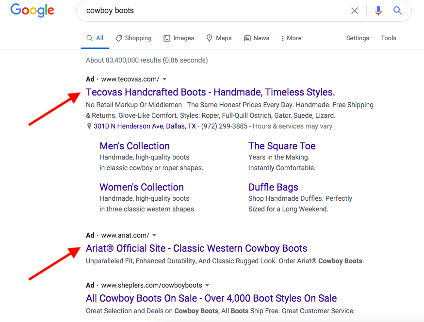 google search network ad examples