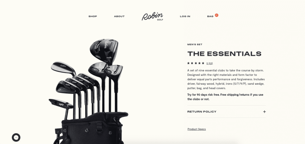 robin golf product page
