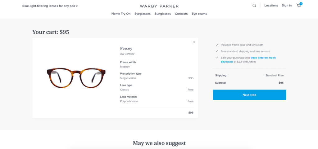warby parker checkout page