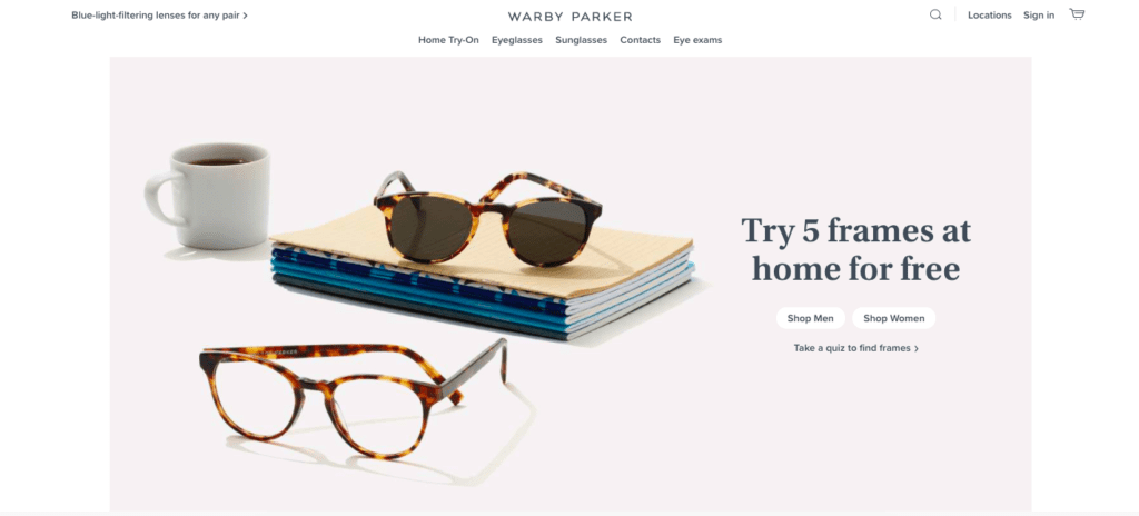 warby parker home page
