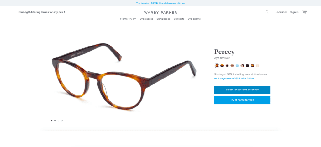 warby parker product page