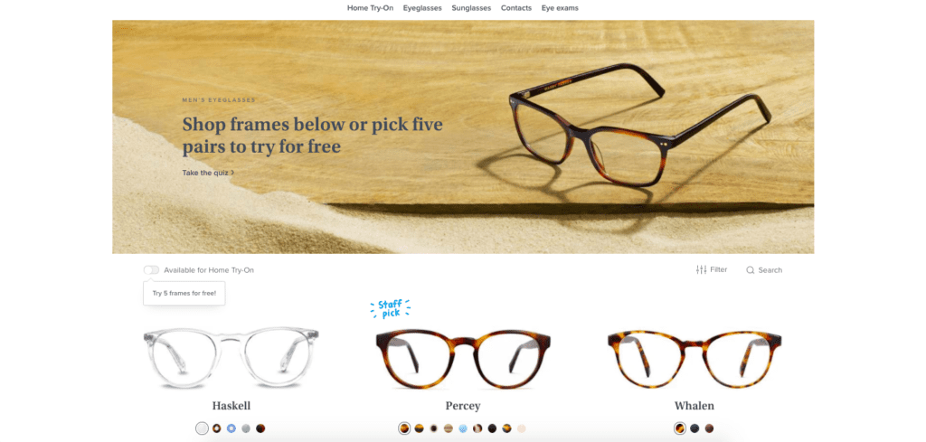warby parker shop page
