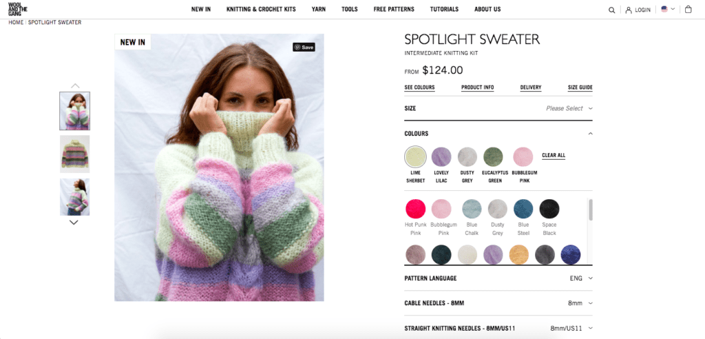 wool and the gang product page