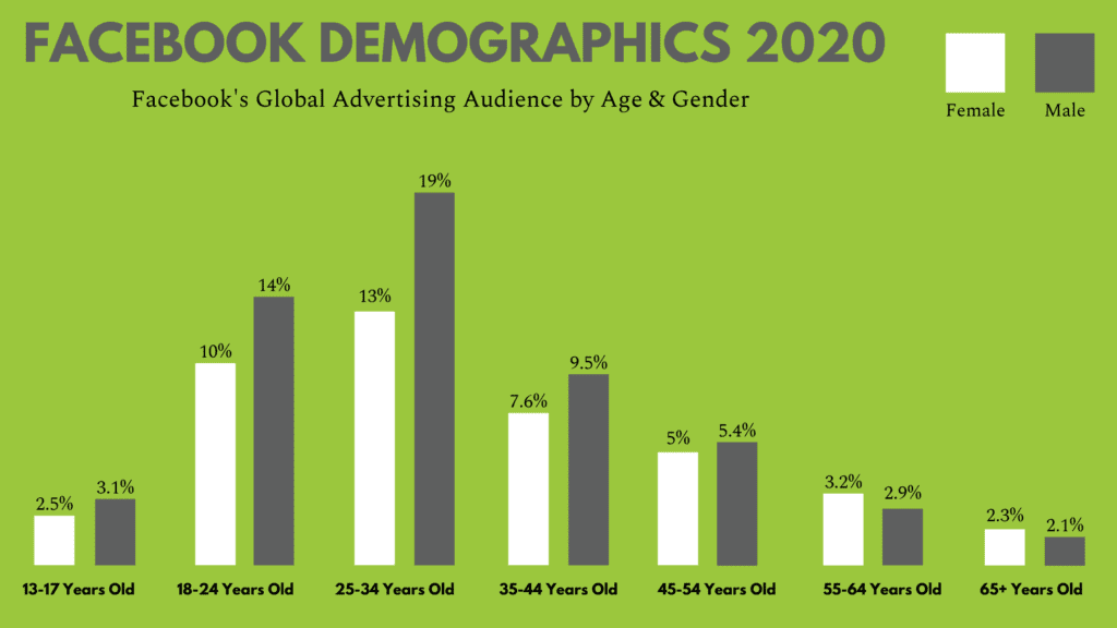 graph of facebook demographics based on age and gender