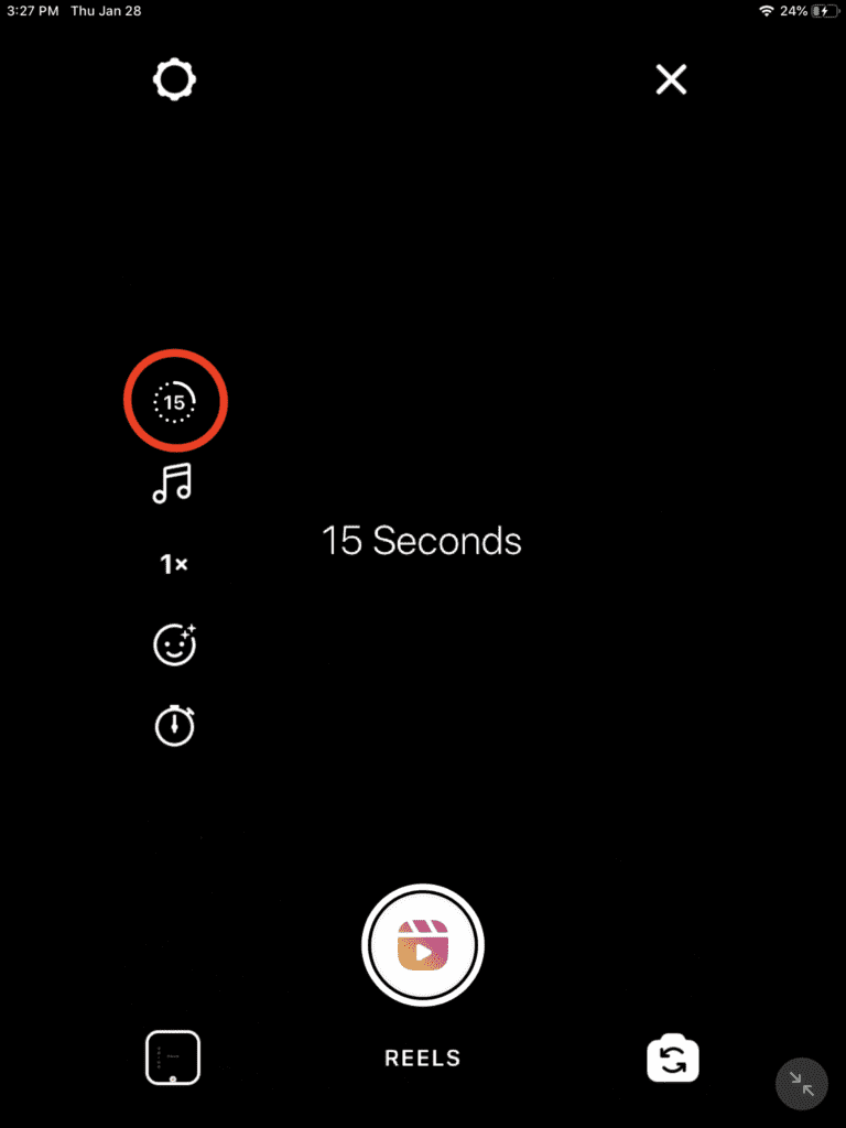 instagram reels with 15 second video duration option circled