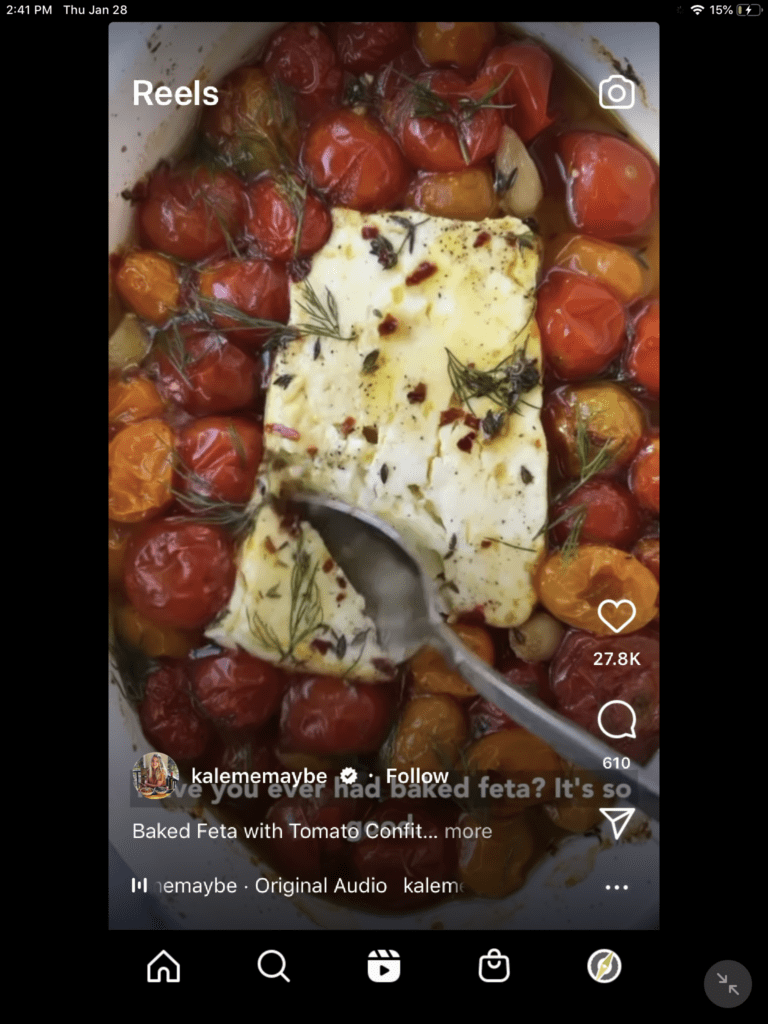 kale me maybe instagram reel of baked feta